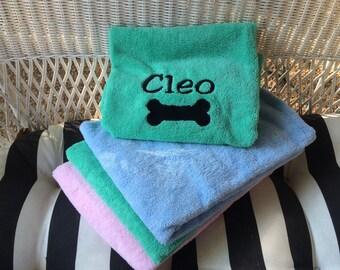 Dog Drying Towel - Large Ultra-absorbent Monogrammed Dog Bone Microfiber Dog Drying Towel