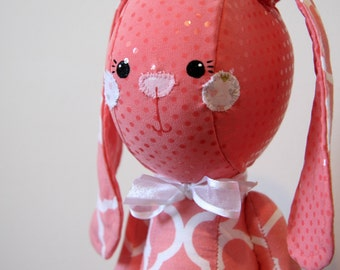 Melody the Bunny Rabbit Stuffed Animal Softie. Coral Fabric with Polkadots, Quatrefoil, Moroccan Print. Makes a Great Gift and is Baby Safe.