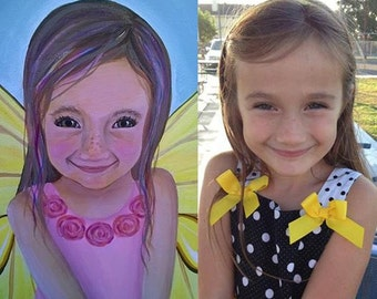 Custom Fairy Portrait Painting, Personalized Fairy Painting