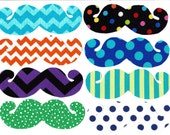 Colorful mustache iron on appliques DIY