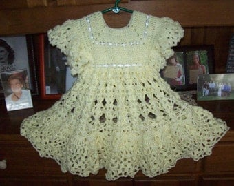 Yellow,Crocheted,Dress,Photos,Girls,Toddler,Gift,Fancy,Party,Pictures