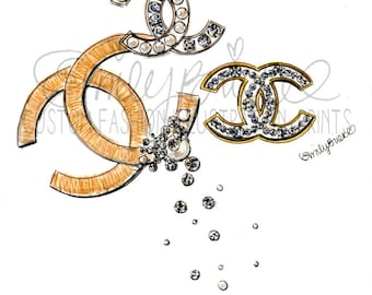 "Fashion Illustration DRAWING print of ""Chanel"", 3 Chanel Brooches in honor of Coco's 131st Birthday. Illustration By Emily Brickel"