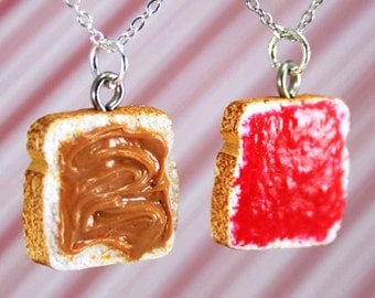 best friend necklace polymer clay charms miniature food jewelry polymer clay food necklace bff charms peanut butter jelly best friend gift