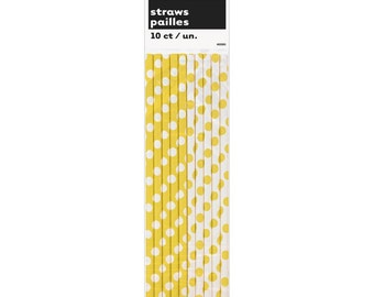 10 Yellow and White Paper Straws for Food Crafts, Cake Pops Sticks, Party Packs, Birthdays