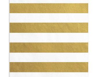 150 Metallic Gold Striped Favor Bags, 5 x 7.5 Inch Flat Paper Bags