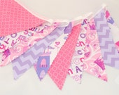 Birthday Bunting Banner - Fairytale Castles, Crowns, Chevrons, Wording - Pink and Lilac