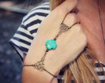 slave braceletTurquoise cross and filigree connectors, ring bracelet, slave ring, unique bracelet, cross ring, cross bracelet