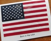 Patriotic American Flag Happy Birthday Handmade Greeting Card with real American flag for Old Glory or Flag Day or July 4th Birthday