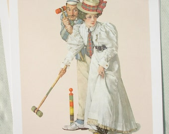 1972 Norman Rockwell Lithograph Print -  Croquet Wicket Thoughts