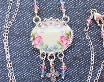Necklace, Broken China Jewelry, Broken China Necklace, Pink and Blue Floral China, Sterling Silver Chain, Soldered Jewelry