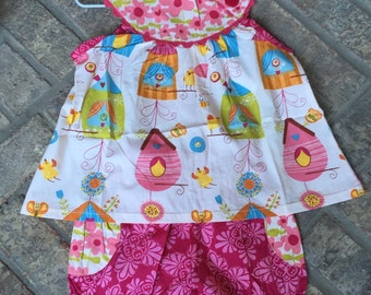ON SALE Birdie bird house 2-piece outfit - Girls Jelly the Pug set can be Embroidered & Personalized w initial appliqué or 3 letter monogram