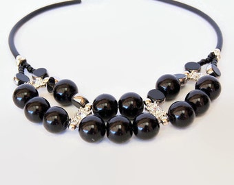 Black and silver chunky double stranded necklace