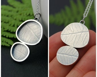 Organic Frame pendant - sterling silver reversible necklace with fern texture