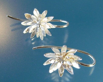 "Sterling silver ""chryssy flower"" earrings... handmade."