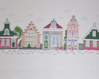 Finished / Completed Cross Stitch -  Gabled Houses Amsterdam 2 crossstitch counted cross stitch