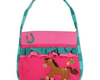 Personalized Stephen Joseph Quilted Ruffle Horse Purse with FREE Embroidery