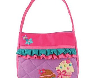 Personalized Stephen Joseph Quilted Ruffle Cupcake Purse with FREE Embroidery