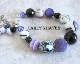 Handmade purple, black, white, and silver chunky bracelet for women, ready to ship, gifts for women, chunky jewelry, made in Montana