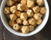 Princeton Chunky Geometric Cube Medium Brown Wood Beads - Extra Large 20mm - Perfect for Trendy Necklace Love (10)