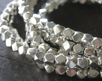Kashmir Silver Large Cornerless Cube Beads - 7x8mm Spacers - Sparkly Faceted Beads - Half Strand or Whole Strands Available