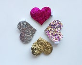 Glitter heart clips, alligator clips, pink, gold, silver, purple, hair clips, toddler, girls, sparkly