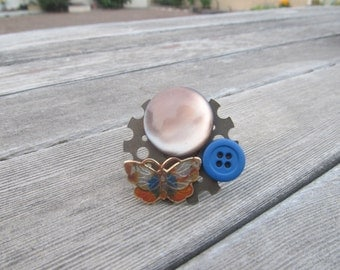 Butterfly Bliss Steampunk Ring (Adjustable)