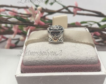 Authentic 14kt Pandora JEWELRY BOX Silver and 14kt Gold charm For Bracelet