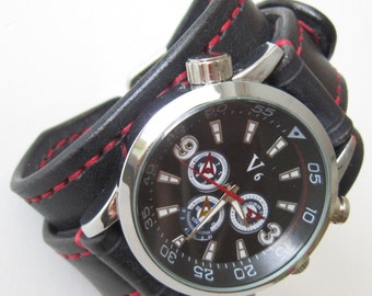 Mens Leather watch, Black Leather Wrist Watch, Leather Cuff Watch