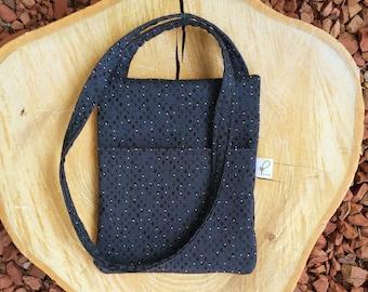 Crossbody Purse, Hipster Bag, Fabric Shoulder Bag, Sling Bag, Navy Blue
