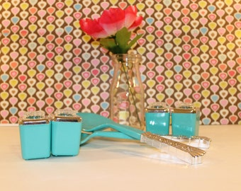 Vintage Turquoise Hostess Serving Set New in Box!