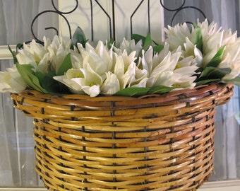 VIntage 90's natural bamboo and metal large wall basket