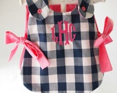 Gingham Monogrammed Side-Tie Custom Baby Dress with Matching Bloomers