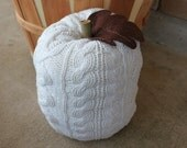 "White Pumpkins, Upcycled Sweater Pumpkin, White Cable Knit 10"", Fall Decor, Autumn Decor, READY TO SHIP, Item 22"