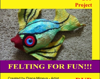 DIY, DVD, Tropical FISH, Felting projects, video tutorials, instructions, felted fish, video demonstrations felting supplies, workshop, gift