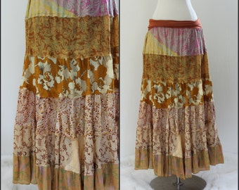 Silk, Indian, Boho TIERED maxi skirt