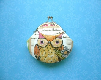 Owl and Bird coin purse - Handmade Gift, Birthday Gift, Holiday Gift