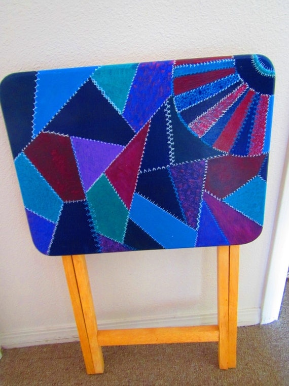 Crazy Quilt Folding Table Tv Tray Hand Painted
