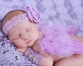 Baby Girl Lavender Purple Feathered Angel Wings - Purple Flower Headband - Newborn Wristlets - Perfect Newborn Photo Prop