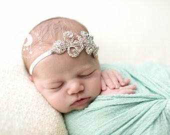 Rhinestone Vintage Bling in Sliver Setting Headband - Beautiful Newborn Photo Prop