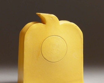 Yellow Bird Vase 2668, Patsy Thola, Patsy Chamberlain, sun, abstract, bright yellow, ceramic, clay