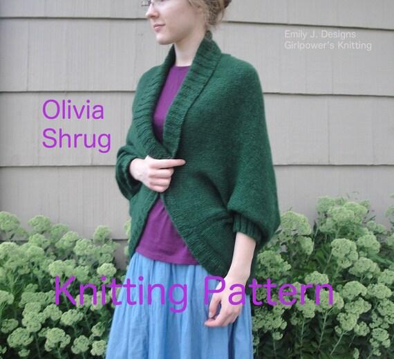 Knitting Pattern For Shrug Sweater : Olivia Shrug Knitting Pattern Shawl Collar Wrap Cocoon