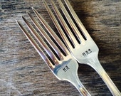 MR and MRS Set of Upcycled Vintage Silverware Forks hand stamped
