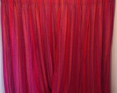 """Vintage XL Curtain Panel, red weave, red woven fabric curtain with orange, green and purple pattern 72"""" x 74"""""""