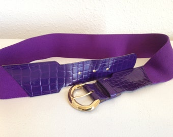 Vintage Stretch Belt, Purple 80s Belt, Vintage Cinch Belt, Purple Elastic Belt, Vintage Purple Belt