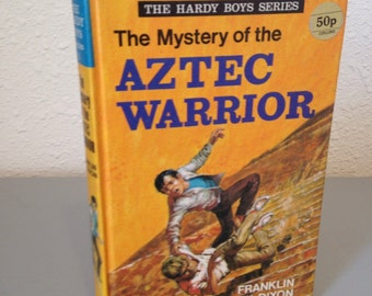 Vintage Hardy Boys Hardcover Book, The Mystery of the Aztec Warrior, #1 UK Hardy Boys Series, UK Collins Hardcover Colour Printing