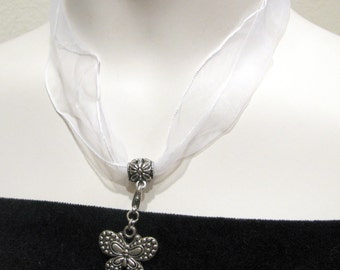 """Sheer Ribbon Necklace Length 17"""" with 2.5"""" Extension Chain / 3 Colors Available / 3pcs per Unit"""