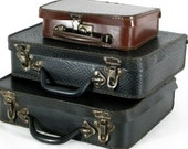 Small Suitcases, Suitcases, Old Suitcases, 3 Antique Suitcases, Vintage Luggage, Cardboard Suitcases, Set of Cardboard Luggage,  4234/35/36