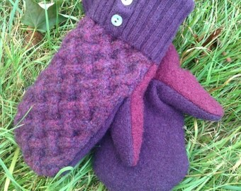Magenta and Purple Sweater Mittens