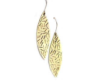 Stamped Brass Earrings - Textured Gold Earrings - Large Gold Earrings - Faux Gold Earrings - Long Dangle Earrings - Leaf Earrings - Brass