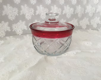 Vintage Glass Covered Dish Clear and Cranberry